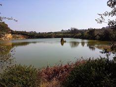 Escursioni in treno e in bici - Il lago con il faraglione della solforata di Pomezia