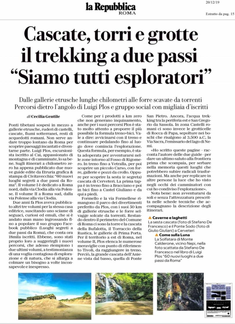 Il Copywriting. Uno dei fondamenti del turismo sostenibile - l'articolo di Repubblica dedicato ai Luoghi Segreti a due passi da Roma